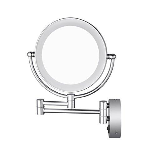 Aechoo Cuarto de baño Espejo de Afeitar Espejo Make Up Pared montado en LED de luz Espejo 10x Lupa...