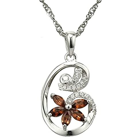 Epinki Women Girls 925 Sterling Silver Necklace Lily Flower Cubic