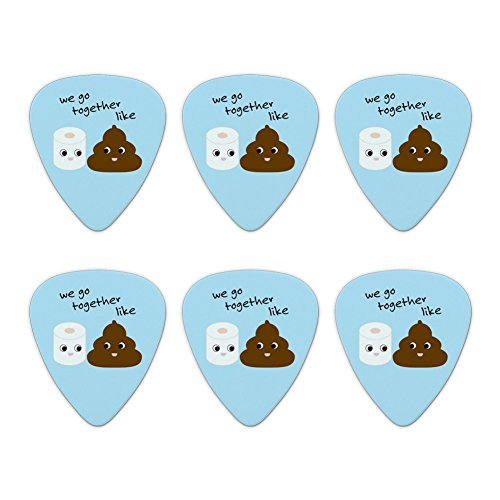 WC-Papier und Poop WE GO Together Like Funny Emoji-Friends Neuheit Gitarre Plektrum Plektron Picks Stärke Medium – Set of 6
