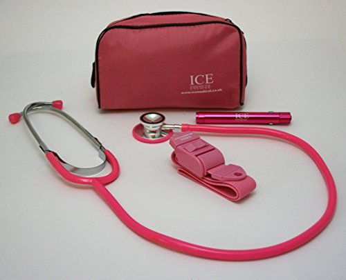 ICE Medical Pink LED Medical Pen light / Pen torch Stethoscope and Tourniquet in a Pink Bag by ICE Medical