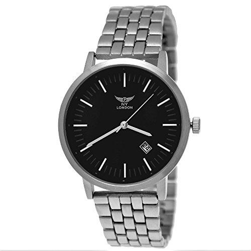 b19ab4e8cfdd Massive NY London Business de hombre reloj analógico de cuarzo reloj de pulsera  plata negro con