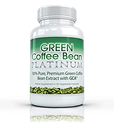 Green Coffee Bean Platinum - Premium 100% Pure Green Coffee Extract with GCA (50% Chlorogenic Acid) Professional Strength Fat Burning Supplement. 800mg. 30 Capsules by Green Coffee Bean All Natural Weight Loss