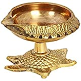 Purpledip Brass Kuber Diya on Auspicious Tortoise: Unique Festive Decor for Home Temple (11515)