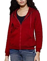 FashMind Solid Maroon Zipper Hoodies Sweatshirt for Women