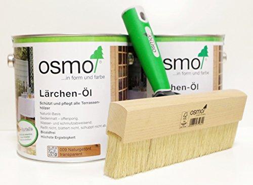 AB.Bauconcept GbR© Kombiangebot: Osmo Lärchen-Öl 009 5 Liter und Osmo Fußbodenstreichbürste 220 mm