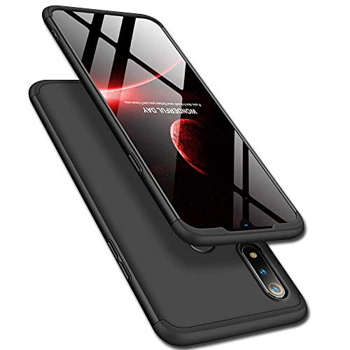 Designerz Hub® Designerz Hub® Ull Body 3 in 1 Slim Fit Complete 3D 360 Degree Protection Hybrid Hard Bumper Back Case Cover Designed for Realme 3i (Black)