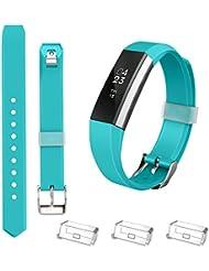 Fitbit bandas de alta, sustitución bandas grande pequeñas disponible en 10colores con cierre de metal y cierre ultrafino, color Azul verdoso