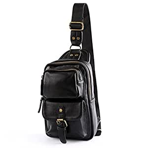 LMJ Cool Men Leather Casual Cross Body Chest Pack Camping Hiking Shoulder Sling Bag (Black 3)