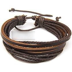 HuntGold - Pulsera de cuero unisex de artesanía.