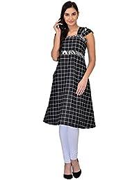 Drapes Women's Kurtis Black With Checks Printed Sleeveless In Cotton Fabric