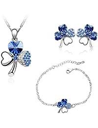 Parure Collier, Bracelet, Boucles d'Oreilles Trèfle ornée de Cristal Bleu de Swarovski -Blue Pearls-CRY A226-A104-B300