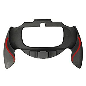 Assecure soft touch controller grip handle attachment for Sony PS Vita PSV – (Black & red)