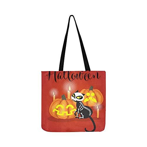 Halloween Kätzchen Skelett Kostüm Halloween Canvas Tote Handtasche Schultertasche Crossbody Taschen Geldbörsen für Männer und Frauen ()