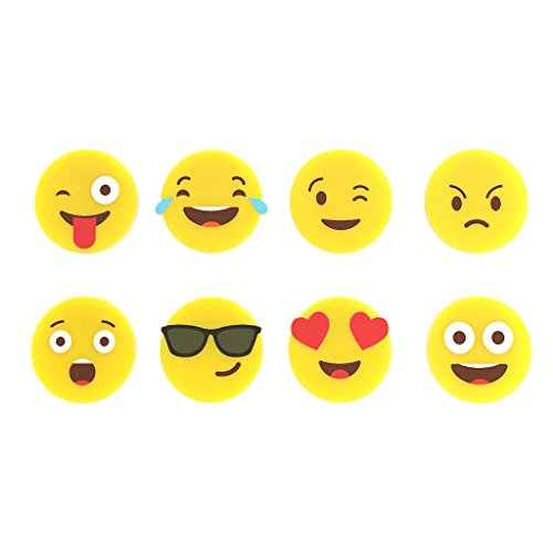 balvi-EmojiGlasmarkier-SetausSilikon.Setbestehendaus8verschiedenenMarkierernmitEmoticon-Motiven,umTassenundGläserzuunterscheiden.