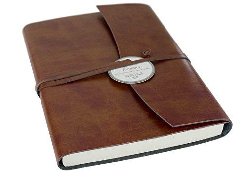 Brown Italienischen Leder Handgefertigt (LEATHERKIND Romano Recyceltes Leder Notizbuch Haselnussbraun, A5 Blanko Seiten - Handgefertigt in Italien)