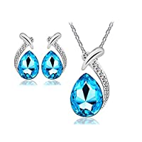 ‏‪Swarovski Elements Unique Jewelry Set For Women - 18K White Gold Plated Crystal Necklace & Earrings Set - Valentine's Gift (Ocean Blue)‬‏