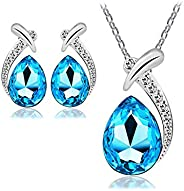 Luxury Unique Jewelry Set For Women - 18K White Gold Plated Crystal Necklace & Earrings Set - Valentine