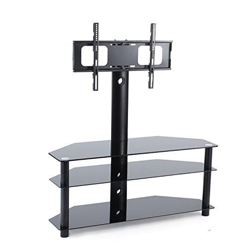 TAVR Furniture Meuble TV avec Support Bracket Pivotant Hauteur R¨¦glable pour TVs et Ecrans LCD LED DE 32 ¨¤ 65 Pouces Etag¨¨re de Rangement au Lieu de Divertissement TW1002