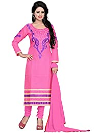 Jheenu Women's Pink Cotton Straight Unstiched Dress Material.