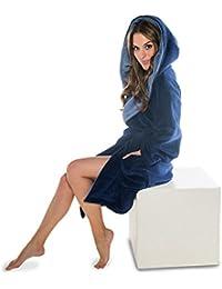 Bademantel mit Kapuze für Damen Mikrofaser, Coral-Fleece, Gewicht ca. 260g/m² Saunamantel CelinaTex 5000340 Miami L dunkelblau mittelblau