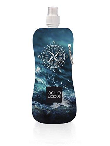AQUA-LICIOUS faltbare Trinkflasche mit Karabiner, wiederverwendbar, Trinkbeutel (Kompass)