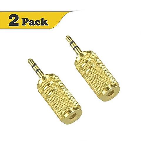 VCE 2-pack 2,5mm mâle vers 3.5mm femelle adaptateur audio Plaqué or
