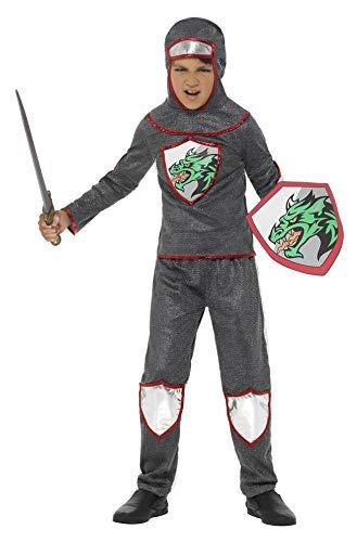 Smiffys Disfraz Deluxe de Caballero, Plateado, con Camiseta, Pantalones, Gorro y Escudo