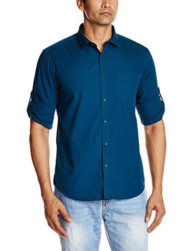 Highlander Men's Casual Shirt (13110001459365_HLSH008868_Medium_Legion Blue)  available at amazon for Rs.399