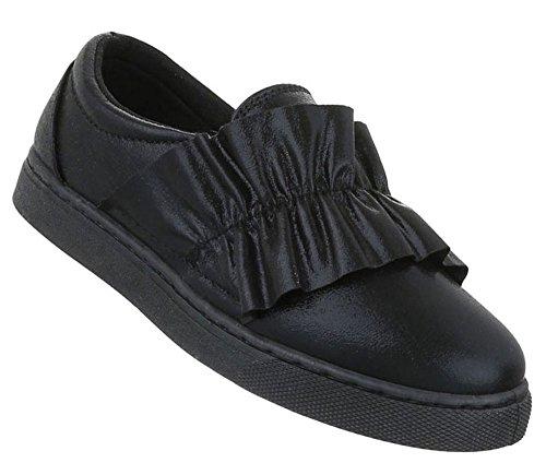 Damen Halbschuhe Schuhe Slipper Loafer Mokassins Flats Slip On Schwarz Gold Silber 36 37 38 39 40 41 Schwarz