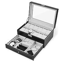 صندوق حفظ المجوهرات بطبقة مزدوجة ودرج بشكل حافظة لعرض الساعات والمجوهرات