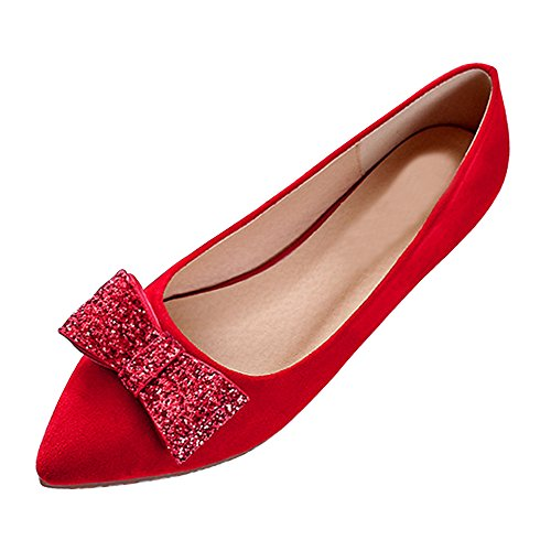 SOIXANTE Ballerines femme chaussures plate en simili cuir taille disponible 34-43 Rouge