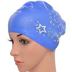 medifier Mujeres Ladies piscina de agua silicona elástica Gorro de natación Gorra Ear Wrap gorro para pelo largo adultos Star impresión, azul