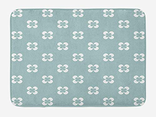 White Almond Bath (JIEKEIO Floral Bath Mat, Pattern with Graphic White Pansy Flowers on Green Backdrop, Plush Bathroom Decor Mat with Non Slip Backing, 23.6 W X 15.7 W Inches, Almond Green White)
