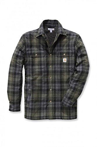 Carhartt .102333.316.s008Hubbard Sherpa Shirt Jacke gefüttert, Farbe: moos, Größe: XXL (Overalls Carhartt-gefütterte)