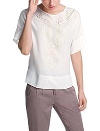 ESPRIT Damen Loose Fit Bluse Tunika mit Druck in Spitzenoptik 034EE1F028