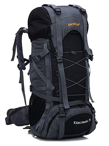 Minetom 70L Grande Capacità Zaino Ciclismo Campeggio Viaggio Escursionismo Montagna Alpinismo Tactical Backpack Impermeabile Nero