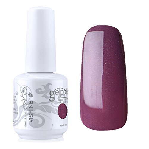 Vishine Vernis à ongles Semi-permanent Soak-off UV LED Nail Art Manucure Base Top Coat Rose-marron (1544)