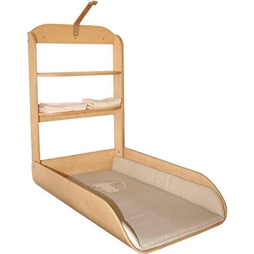 Wand-Wickeltisch aus Holz, praktischer Schnappverschluß, 47x75 cm Liegefläche • Baby klappbar Wandwickelregal Wickelregal