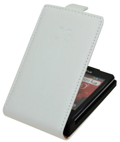 Premium Flip-Style Handytasche für - LG E400 Optimus L3 - Tasche Etui Hülle Schutzhülle (Spezielle Anfertigung) in WEISS