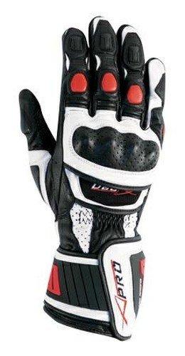 A-Pro -Guanti da motocilista di alta qualità, in pelle, colore Bianco/Rosso, taglia: L