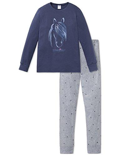 Schiesser Mädchen Pferdewelt Md Anzug lang Zweiteiliger Schlafanzug, Blau (Dunkelblau 803), 116