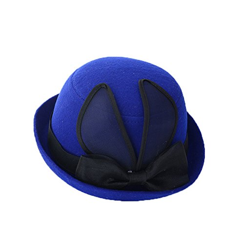 Lawevan® Femmes Cashmere chaîne en cuir Cap Bowler Hats Bleu