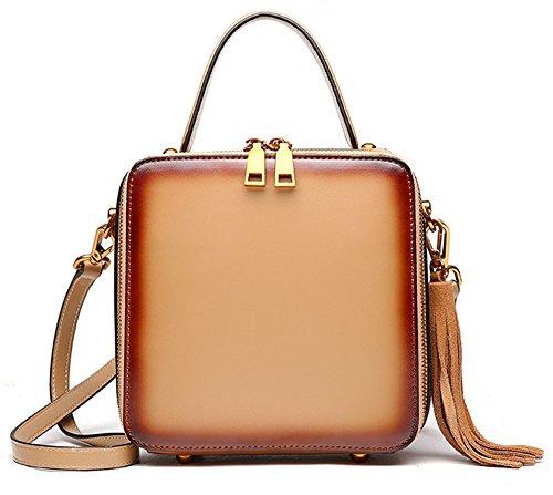 Xinmaoyuan Damen Handtaschen Leder Tasche Leder Einzel Schulter schräg Armband kleine Quadratische Tasche Vintage Literatur Einfache Quaste mit hoher Kapazität, Schwarz Aprikose