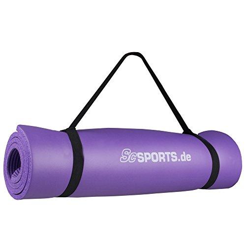 ScSPORTS® Gymnastikmatte dick & rutschfest, Yoga-Matte mit Schultergurt, 120 cm x 63 cm x 1 cm, universeller Einsatz im Fitnessstudio oder zu Hause (lila)
