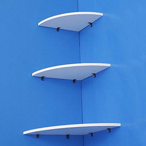 Enerhu Estantes de Pared Juego de 3 Estanterías de Esquina blanca + Accesorios de la instalación * 1set