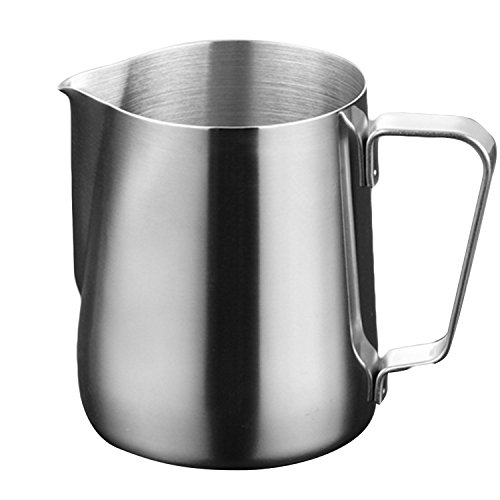 Gosear® Jarra barista, Jarra café de espuma de leche (Acero Inoxidable, 150ml)