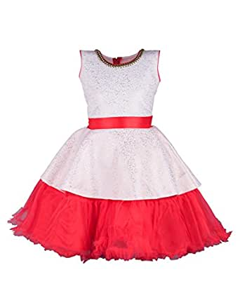 ec3103d1a My Lil Princess Baby Girls Birthday Party wear Frock Dress  Red Belt ...