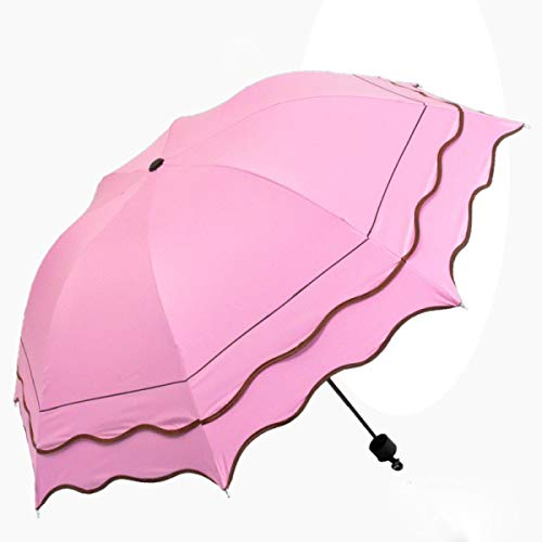 Rinalay Flouncing Folding Lotus Dome Blumen Druck Sonnenschirmsun Regen Regenschirm DREI Falten Mode Living Umbrella Outdoor Langlebig Leicht Mode Classic Umbrella (Color : Colour, Size : One Size)