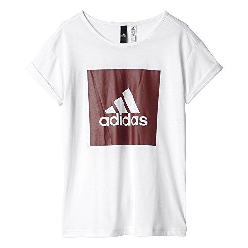 adidas Yg Logo Loose T T-shirt für Mädchen, Weiß (Weiß / Buruni), 116 Preisvergleich
