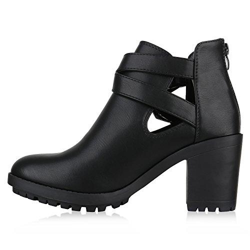 Stiefelparadies Damen Stiefeletten Wildleder-Optik Glitzer Chelsea Boots Animal Prints Profilsohle Knöchelhohe Stiefel Flandell Schwarz Avelar